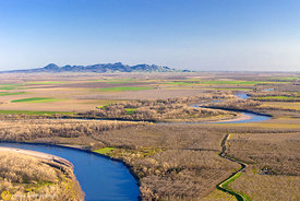 Sacramento River and Sutter Buttes from the Air #3