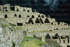 Inca houses in residential sector, Machu Picchu, Peru