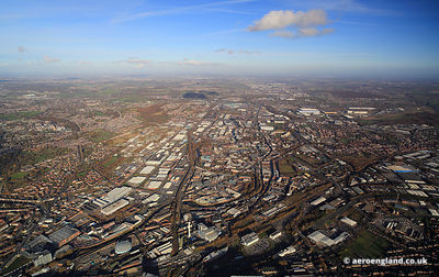 aerial photograph of Sheffield South Yorkshire England UK showing the Don Valley  Attercliffe areas.