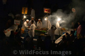 Food stalls in the Djemaa el-Fna, Marrakesh, Morocco; Landscape