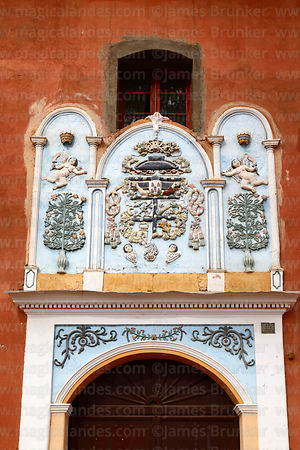 Detail of artwork above side entrance of San José Franciscan convent, Tarata, Cochabamba Department, Bolivia