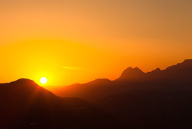 Sunset in the mountains of Axarquia