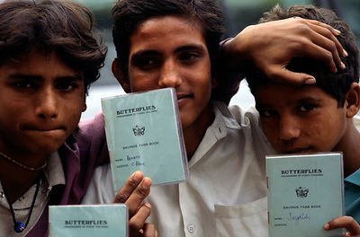 India - Delhi - Boys with their membership cards of the Bal Mazdoor Trade Union
