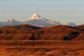 View across altiplano to Mt Huayna Potosi, Cordillera Real, Bolivia