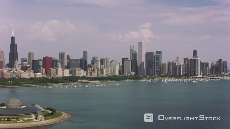 Chicago, Illinois Aerial shot of Adler Planetarium and downtown Chicago.  Shot with Cineflex and RED EpicW Helium.