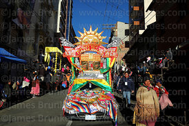 Decorated car with sun and Tiwanaku Sun Gate symbols, Gran Poder festival, La Paz, Bolivia