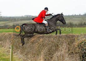 Robin Smith-Ryland jumping a hedge on Greenall's