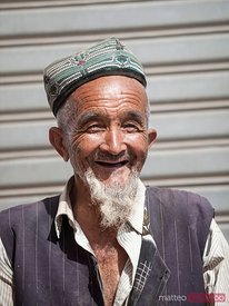 Portrait of old uighur man