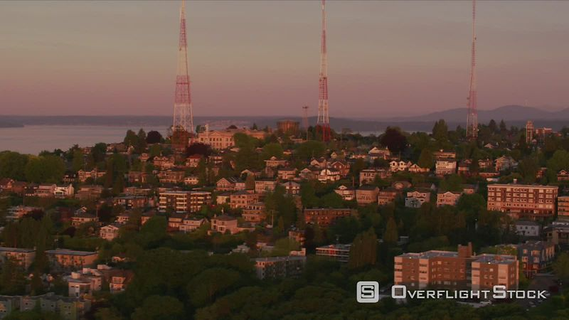 Seattle, Washington Aerial view of Seattle's Queen Anne area.  Shot with Cineflex and RED EpicW Helium.
