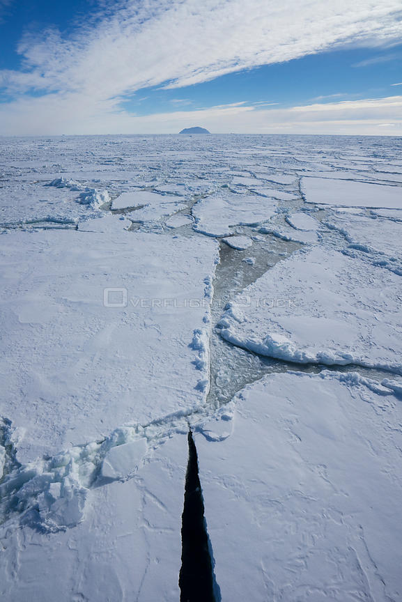 Sea ice, near Mount Terror and Mount Erebus Ross Sea, Antarctica.