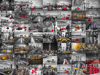 Collage of city with spot colour