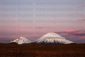 Payachatas volcanos at sunset, Lauca National Park, Region XV, Chile