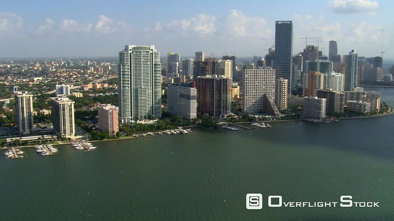 Panorama of Miami waterfront skyscrapers from above Biscayne Bay.