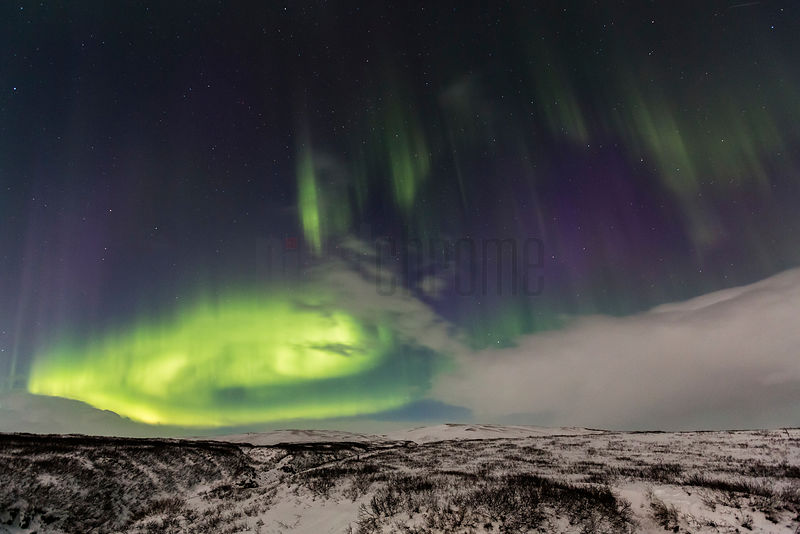 Northern Lights (Aurora Borealis) over Winter Landscape