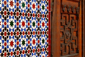 Moorish style tiles and wooden door of Spanish Casino / Casino Español , Plaza Prat , Iquique , Region I , Chile