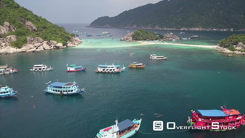 Nang Yaun Island Diving Drone Video Ko Tao, Ko Phangan District, Surat Thani, Thailand