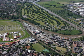 Chester high level aerial view of Chester Harbour and Chester Golf course