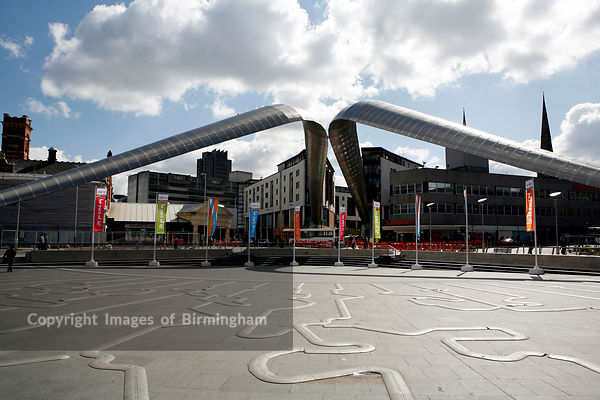 Whittle Arch in Millenium Place. Coventry, West Midlands. It celebrates the Coventry born Sir Frank Whittle and his invention of the Jet engine.