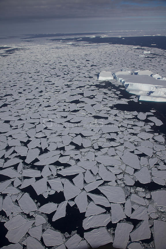 Aerial view of pack ice, Antarctica, March 2011.