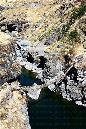 The last Inca rope suspension bridge across the Apurimac River at Q'eswachaka, Canas province, Cusco Region, Peru