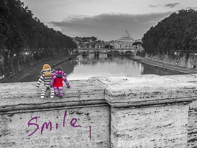 Soft toys on bridge near Basilica di San Pietro in Vatican, Rome, Italy