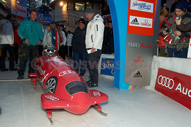 His Highness Albert Grimaldi at Monaco Bob Race on the Olympia Bob Run in Saint St. Moritz