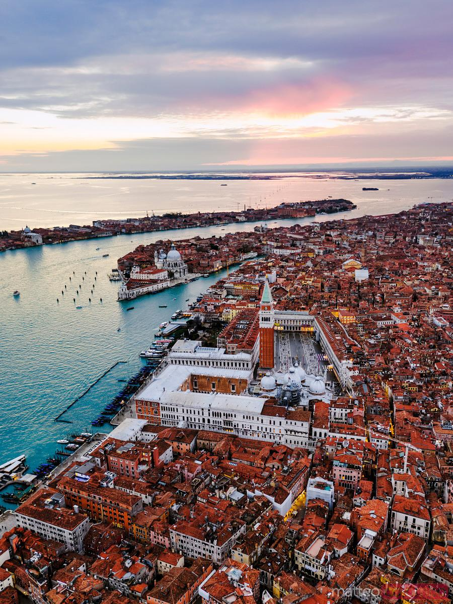 Aerial view of sunset in Venice, Veneto, Italy