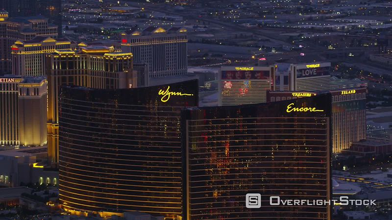 Las Vegas, Nevada Aerial view of Encore, Wynn and Las Vegas Strip.  Shot with Cineflex and RED EpicW Helium.