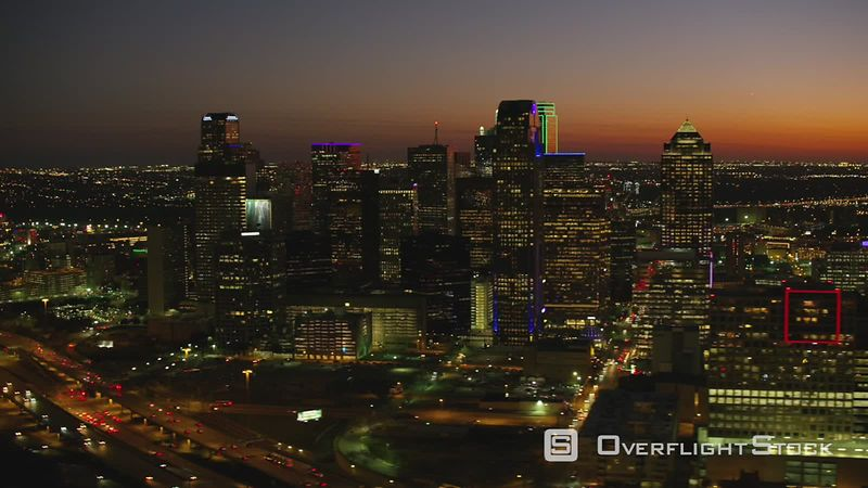 Dallas, Texas Aerial view of sunset over Dallas, Texas