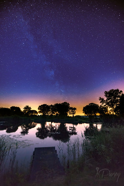 Landscape | Canvas wall art | Milkyway | Night pond