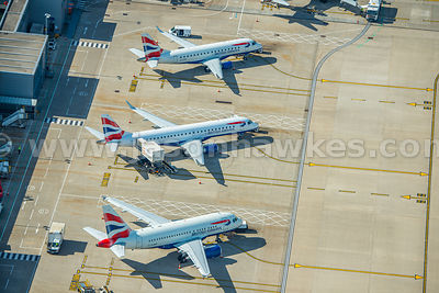 Aerial view of planes at City airport, London