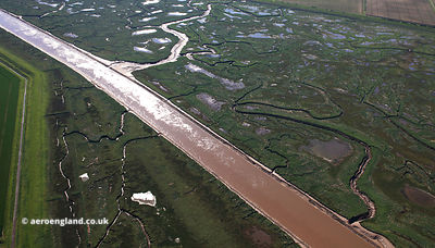 River Welland as it flows through Fosdyke Wash in  Lincolnshire  from the air