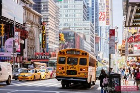 School bus in Manhattan, New York city, USA