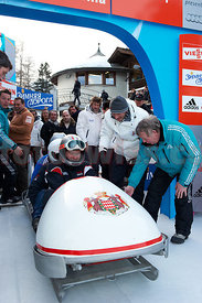 His Highness Albert Grimaldi (Fuerst von Monaco) Monaco Bob Race at the Olympia Bob Run in Saint St. Moritz
