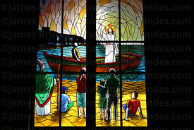 Stained glass window with biblical scene of Jesus in boat on Sea of Galilee in cathedral , Iquique , Region I , Chile