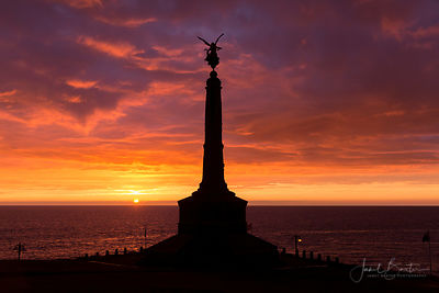 War memorial at sunset, Aberystwyth castle