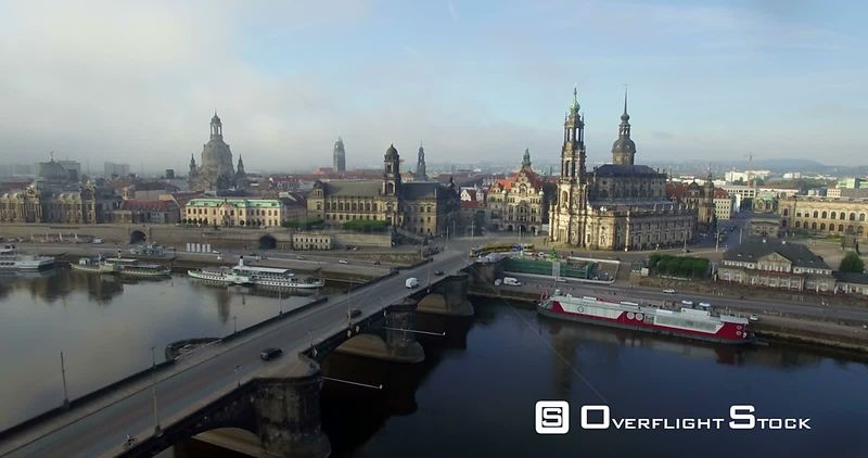 Elbe River and the Historic Katholische Hofkirche Dresden Germany
