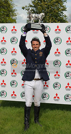 Sam Griffiths with the Badminton Horse Trials Trophy - Show Jumping phase, Mitsubishi Motors Badminton Horse Trials 2014