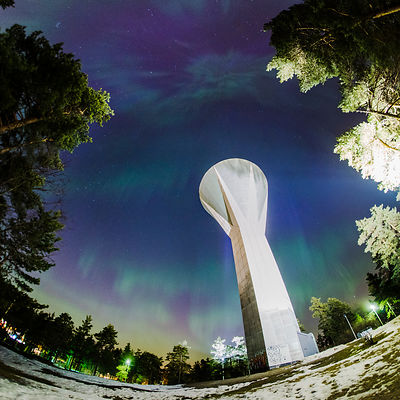 Northern lights above the water tower in Lahti, Southern Finland on March 18 2015.
