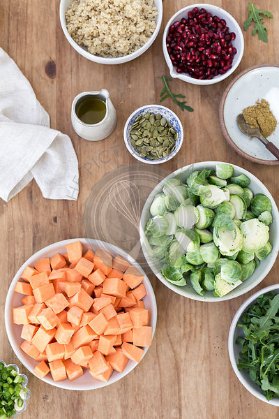 Ingredients for Roasted Sweet Potato and Brussels Sprouts Salad