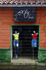 Mannequins in entrance of clothes shop, Tarija, Bolivia