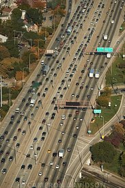 Aerial Chicago Traffic Highway