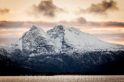 Mountain covered in Snow near to Ørnes in Norway