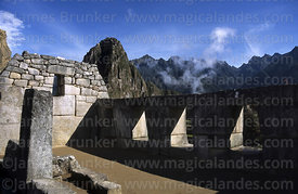 Temple of the Three Windows and Huayna Picchu peak, Machu Picchu, Peru