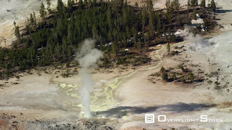 Sulpher Spring, also known as Crater Hills Geyser, sits in the Hayden Valley in Yellowstone National Park