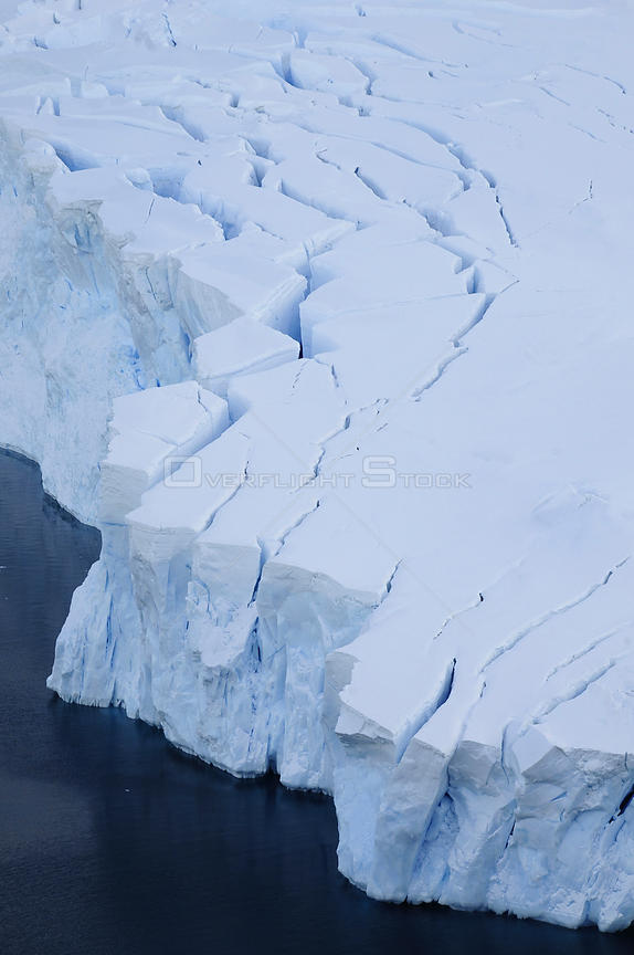 Aerial shot of glaciers, Neko Harbour, Andvord Bay. Antarctic Peninsula, Antarctica