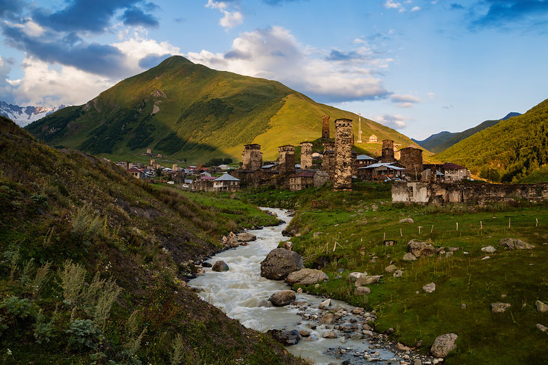 View of the Fortified Towers of Ushguli at Sunset
