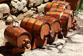 Small wooden ornamental wine barrels in traditional bodega , Concepción , near Tarija , Bolivia