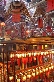 Incense coils hanging inside Man Mo temple Hong Kong