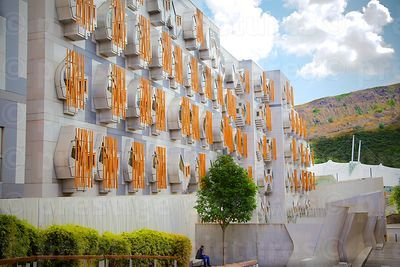 Exterior of the Scottish Parliament Office Windows with Brightly Coloured Orange Bars